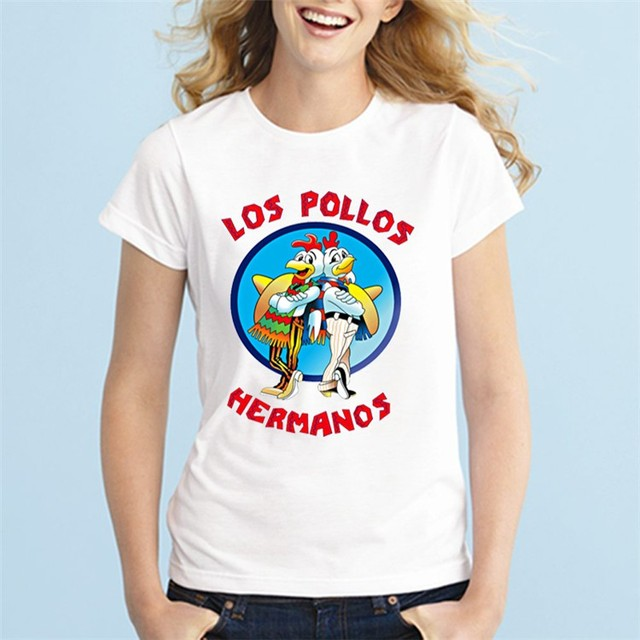 5464689c7021 Cool 2016 Breaking Bad Women's T Shirt Los Pollos Hermanos T-Shirt Chicken  Brothers Tops Tee Shirt Femme Camiseta Plus Size