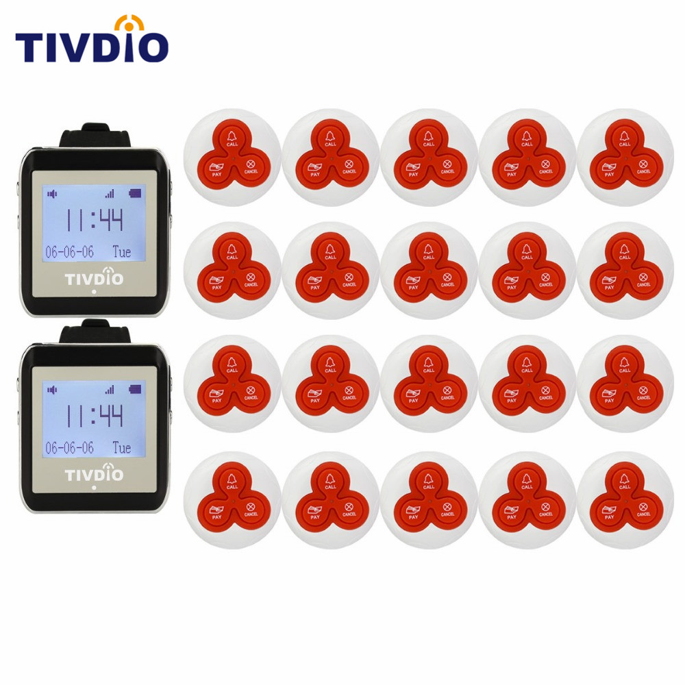 TIVDIO Wireless Watch Restaurant Coaster Pager Calling System Watch Guest 433MHz For Hospital Waiter Nurse Equipment F9404A