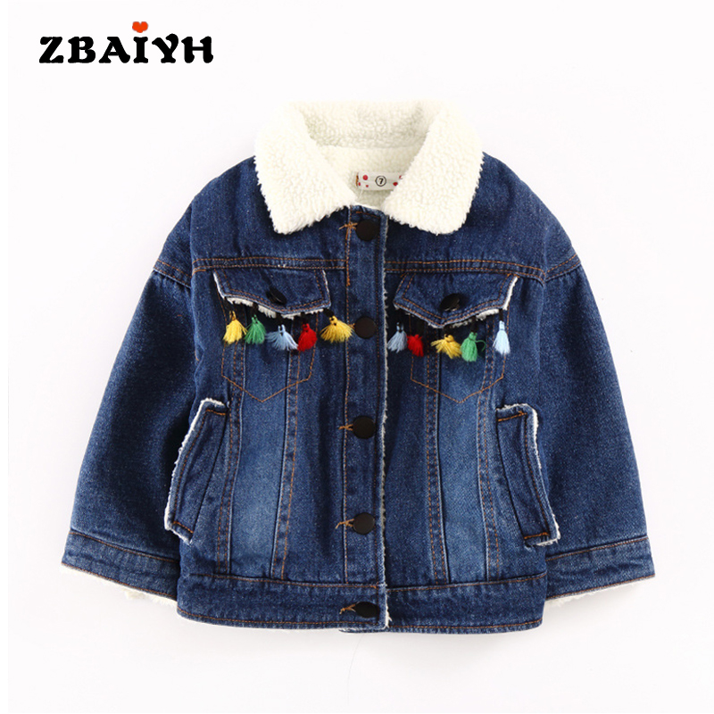 Winter Warm Cotton-Padded Boys Denim Coat Thickening Jacket Children Winter Outerwear For Girls Casaco Menino Fashion Tassels children clothing panda cartoon outwear boys girls winter wear thickening outerwear coat cotton padded childr children outerwear