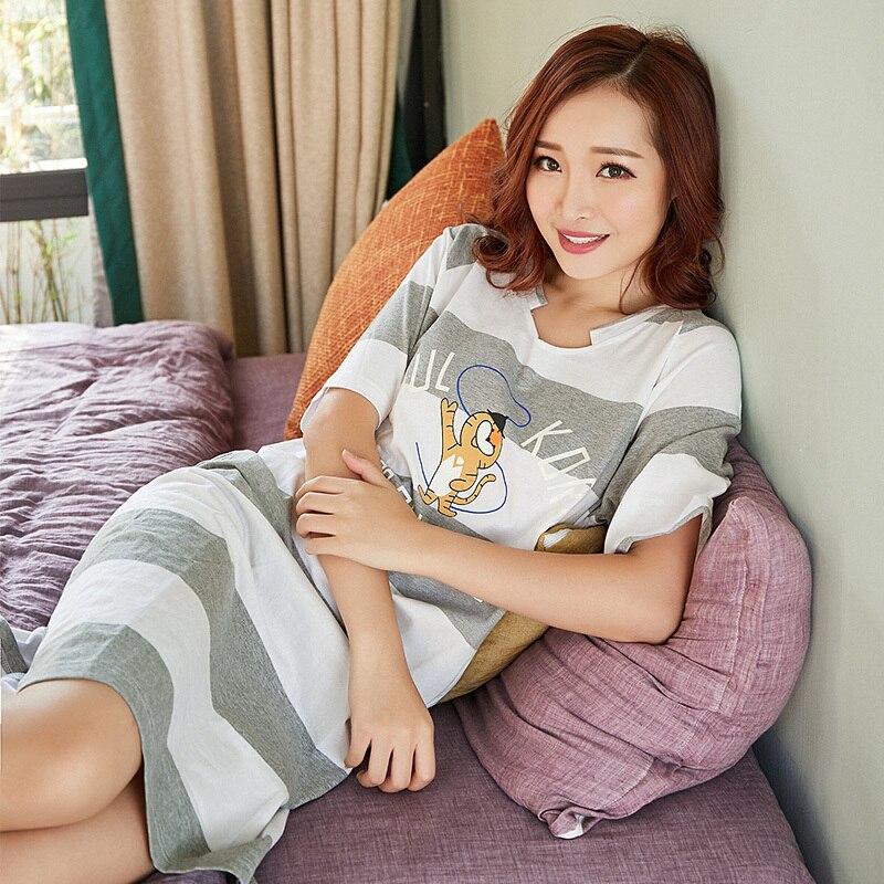 New WAVMIT 2018 Summer Womens Short Cartoon Pijamas Home Cloth Nightshirt Women Causal Sleepwear 100% Cotton Ladies Nightgown