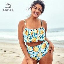 CUPSHE Plus Größe Blatt Und Zitrone Gedruckt Tank Bikini Tankini Frau Zwei Stück Badeanzüge 2020 Mädchen Strand Badeanzüge Bademode