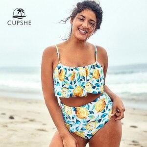 Image 1 - CUPSHE حجم كبير ورقة والليمون مطبوعة تانك بيكيني Tankini امرأة قطعتين المايوه 2020 فتاة الشاطئ لباس سباحة ملابس السباحة