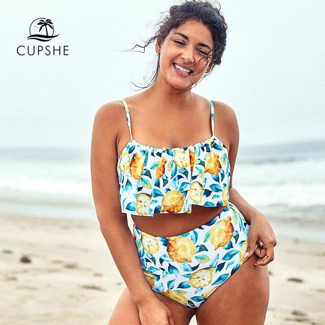 CUPSHE حجم كبير ورقة والليمون مطبوعة تانك بيكيني Tankini امرأة قطعتين المايوه 2020 فتاة الشاطئ لباس سباحة ملابس السباحة