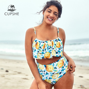 Image 1 - Cupshe Plus Kích Thước Lá Chanh Và In Hình Xe Tăng Bikini Tankini Nữ 2 Mảnh Đồ Bơi 2020 Cô Gái Đi Biển Đồ Tắm Đồ Bơi