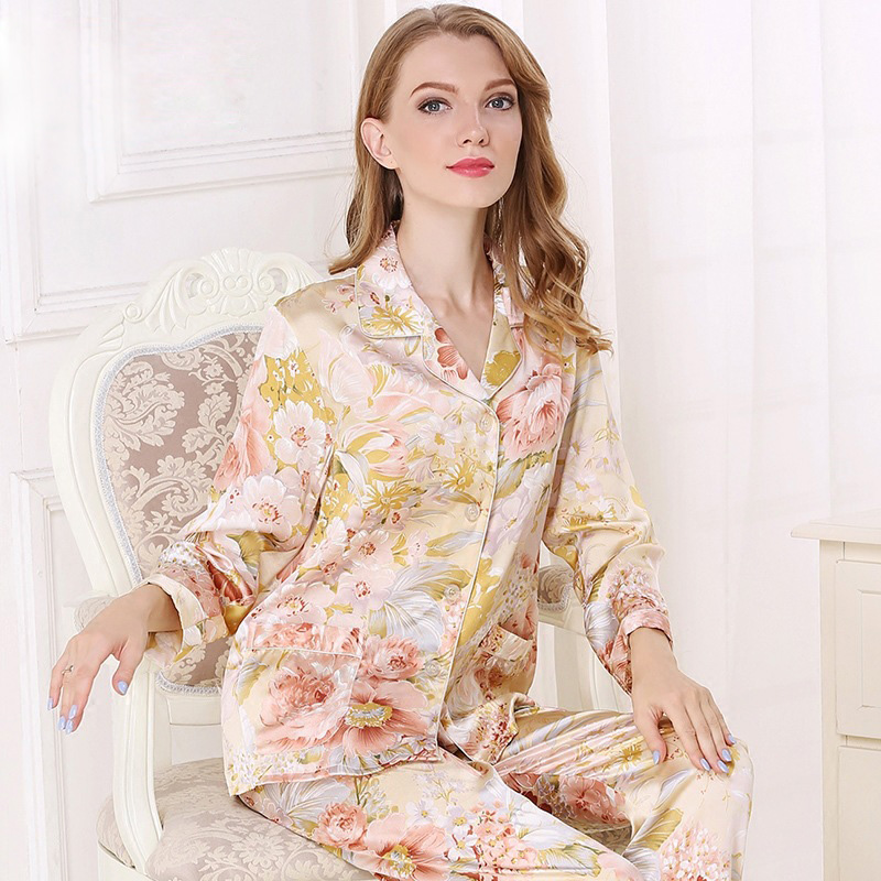 Elegant Noble 100% Genuine Silk Pajama Sets Women Autumn Long Sleeve Sexy Peonies Flower Design Pyjamas Female Pajamas 2019