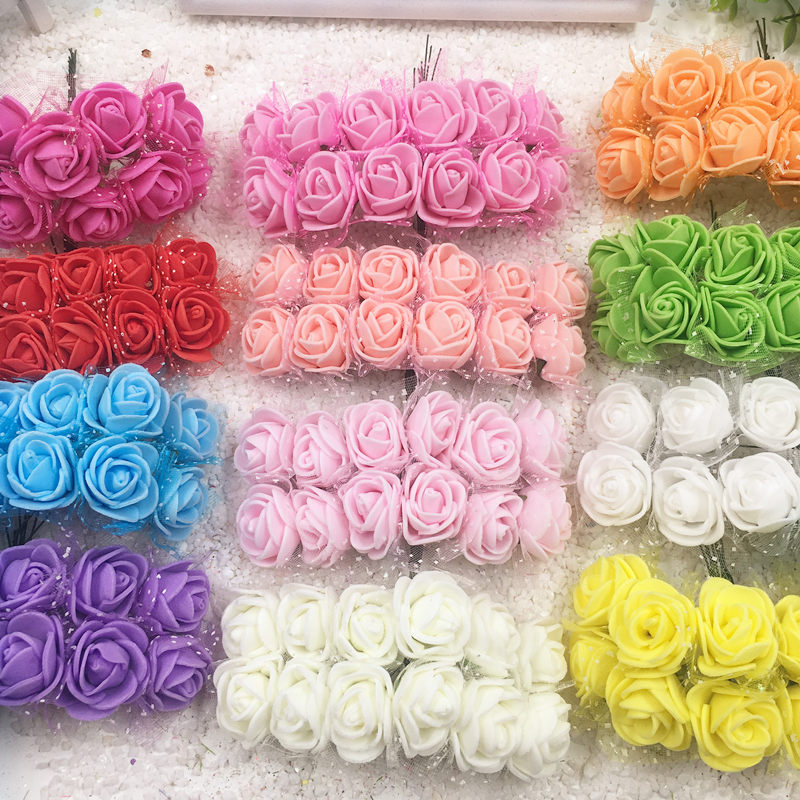 144 PCS/synthetic PE foam mini bouquets of roses wedding decoration/wreath DIY gift boxes collage artificial flowers