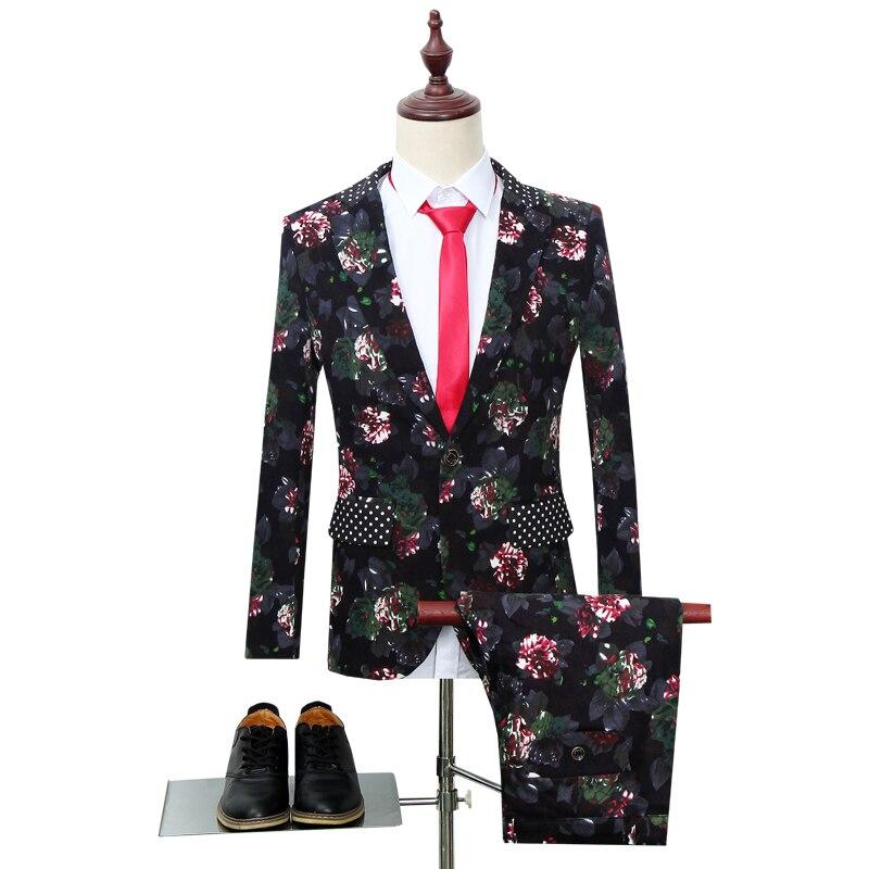 Wonderful Latest Designs Slim Fit Mens Suits Prom Tuxedo Men Suit With Colorful Floral Printing 2pcs Set 2019(Blazer+Pants)