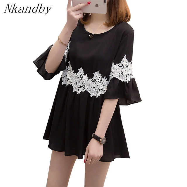 Nkandby Plus size Long Tops Summer Women Clothing Korean Sweet Fashion Half  Flare sleeve Hollow out 1432009f504d