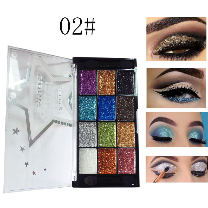 Beauty Essentials Strong-Willed Farres Shimmer Shining Eyeshadow Palette Waterproof Easy To Wear Diamond Gold Blue Pigment Eye Shadow Powder Cosmetics Am038 Eye Shadow