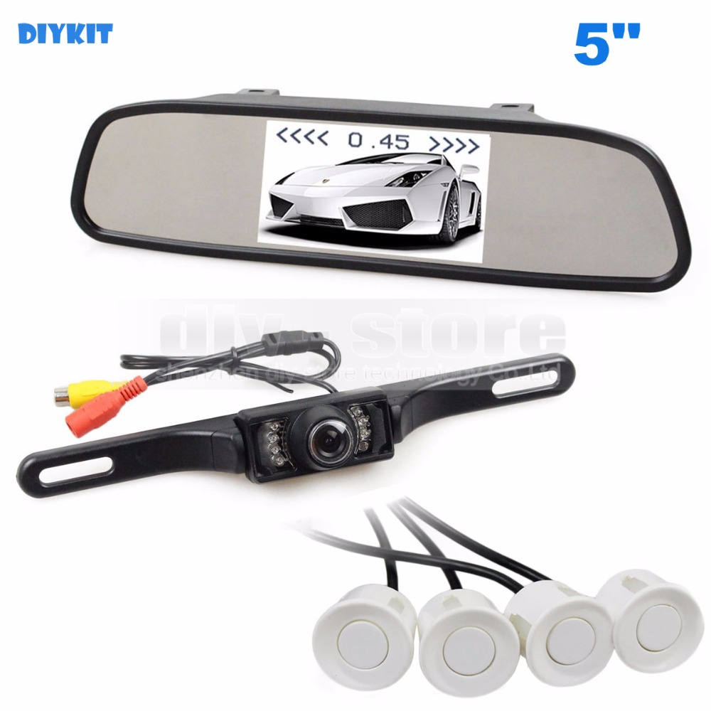 DIYKIT 5 Inch Rear View Car Mirror Monitor Kit Video Parking Radar IR Rear View Car