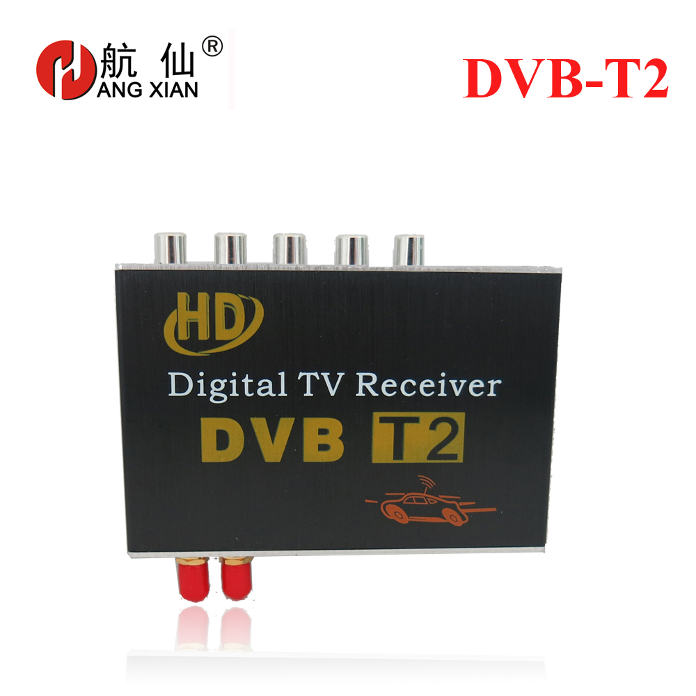 DVB-T2 Car digital TV box with 4 video output ,two tuners supporting high-speed up to 130KM/H for car dvd and monitor 10pcs lot oem syta dvb t car set top box high definition digital media player twin tuners special design for car