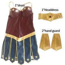 Hot sell Halloween Wonder Women Cosplay Costume Superwoman Outfit Role Playing Diana Prince Fancy Dress +Headwear+ Wrist band