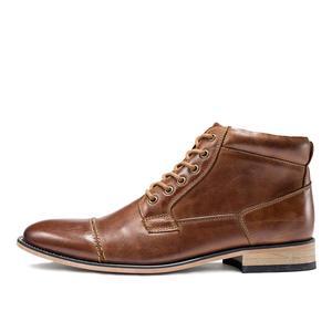 Image 2 - VRYHEID ماركة عالية الجودة الرجال الأحذية حجم كبير 40 50 جلد طبيعي خمر حذاء رجالي موضة عادية الخريف الشتاء حذاء من الجلد