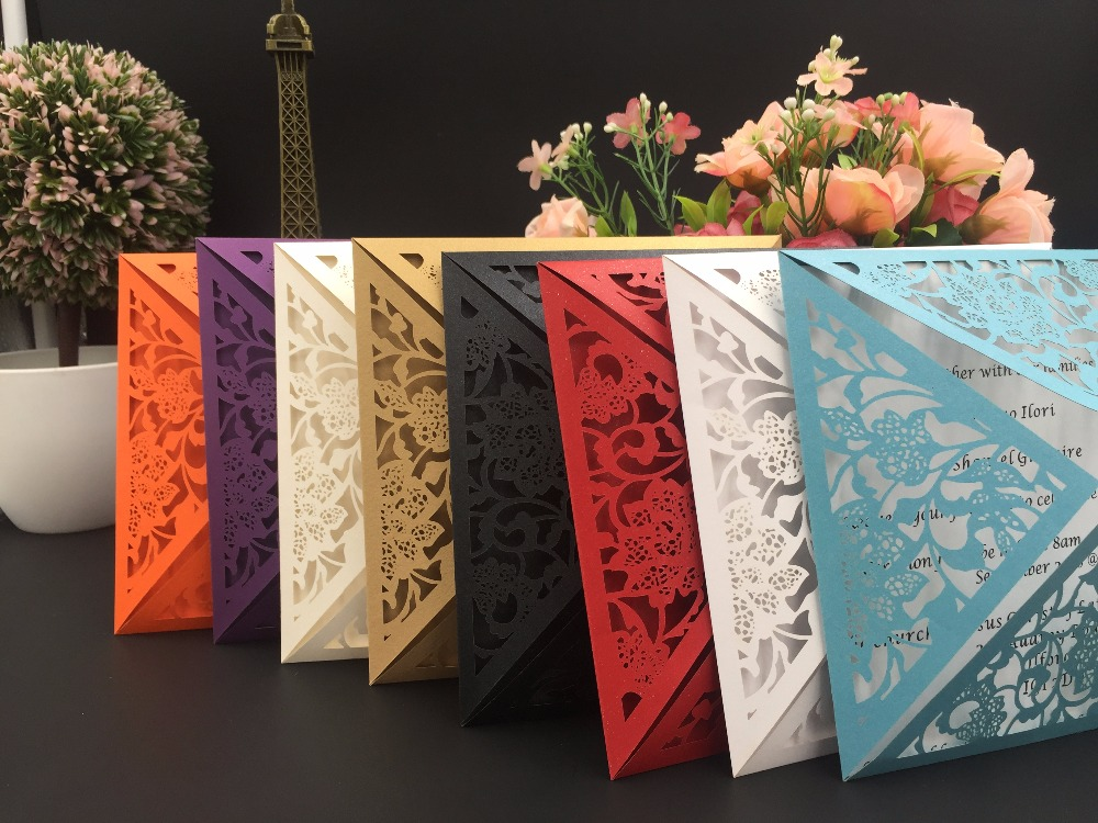 Free Shipping 50pcs White/Black/Red/Purple vintage damask flower Party/Birthday Laser Wedding invitation card laser cut invites