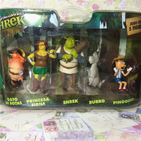 5 Pack Box Toy Original Garage Kit Classic Toy Shrek Puss in Boots Burro Flona Dolls Action Figure Collectible Model Toy Gifts