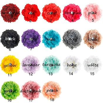 (50pcs/lot) 18 Colors Artificial Fabric Flowers With Acrylic Button For Newborn DIY Hair Accessories Chic Peony Flower Headband