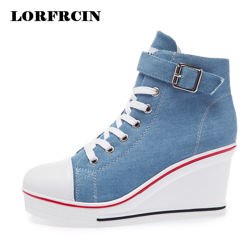 Plus Size 43 Denim Canvas Shoes Woman Wedges Platform Sneakers For Women 8cm High Heels Ladies Summer Casual Shoes 2018 LORFRCIN ladies casual platform wedges oxford shoes for women metallic pu cut outs women high heels summer brogue oxfords shoes woman