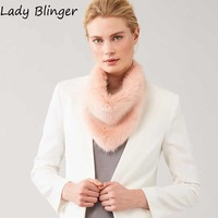 Lady Blinger New Faux Fur Scarves Pink Fake Fox Fur Scarf Women Winter Autumn Artifical Fur