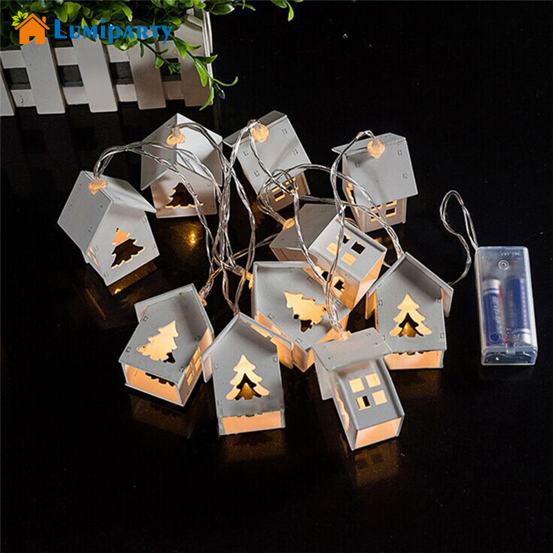 LumiParty batteridrift Wooden Christmas Tree String Lights med 10 LED - Ferie belysning