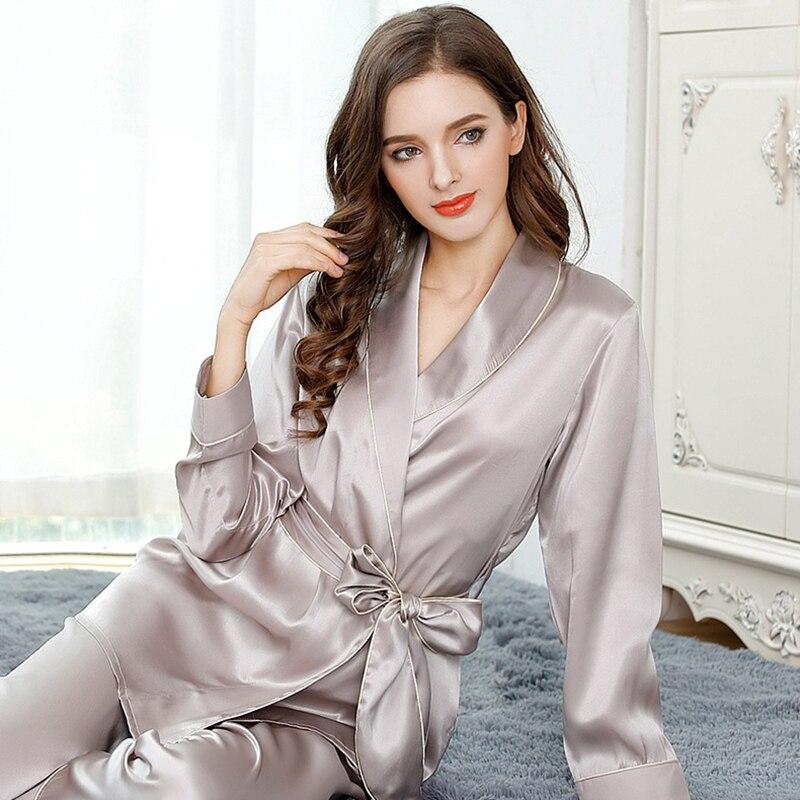 High Quality 100% Real Silk Women Pajamas 2 Pcs Kimono Robe & Long Pants Pajama Sets 100% Mulberry Silk Pyjamas Women Sleepwear