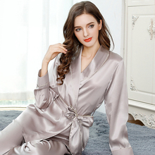 High Quality 100% Real Silk Women Pajamas 2 Pcs Kimono Robe & Long Pants Pajama Sets 100% Mulberry Silk Pyjamas Women Sleepwear цена 2017