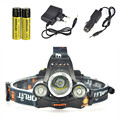 6000Lm Boruit RJ-5000 Headlamp Rechargeable XML T6+2R2 LED Tactical Flashlight Camping Head Light+2x18650 Battery+Car/Ac Charger