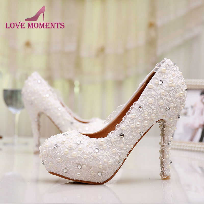 Free Shipping Plus Size Lace Wedding Shoes White High Heel Bridal