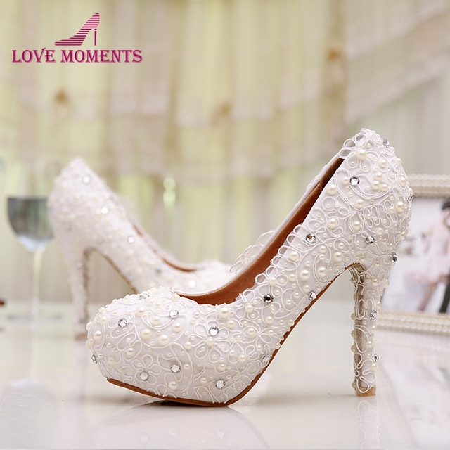 e2ba9eb1ce79 Free Shipping Plus Size Lace Wedding Shoes White High Heel Bridal Shoes  Comfortable Bridesmaid Shoes Prom Evening Dress Pumps