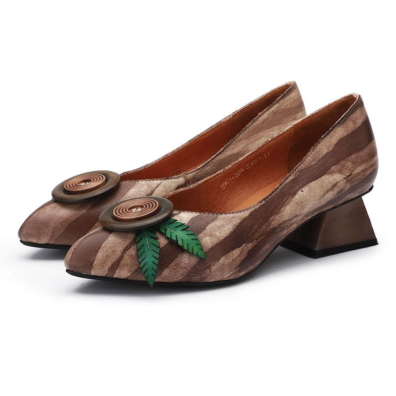 2019 جديد وصول خمر أحذية امرأة مضخات وأشار اصبع القدم أحذية سيدات عالية الكعب زهرة اليدوية الطبيعي الجلود الإناث حذاء كاجوال-في أحذية نسائية من أحذية على  مجموعة 3