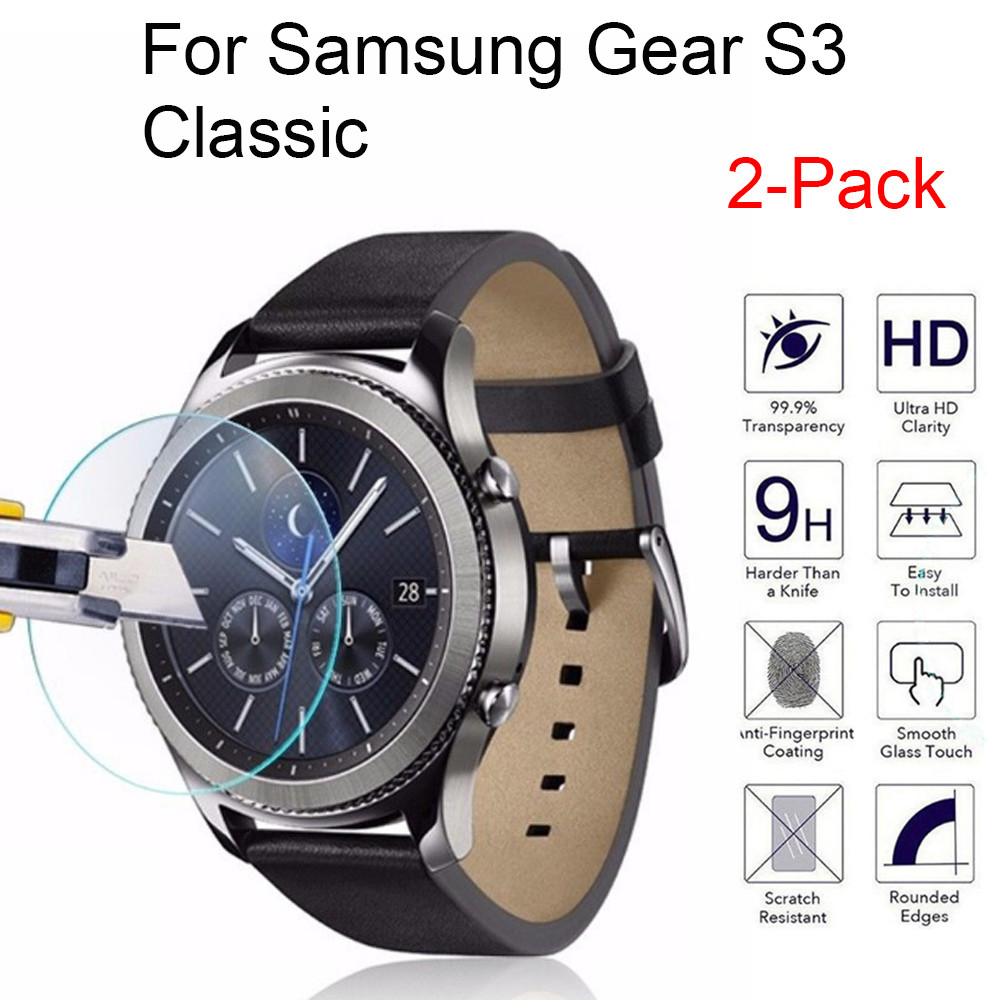 2pcs Tempered Glass Screen Protector For Samsung Gear S3 Classic Protective Glass Bubble Free Scratch Explosion Proof 9H Glas(China)