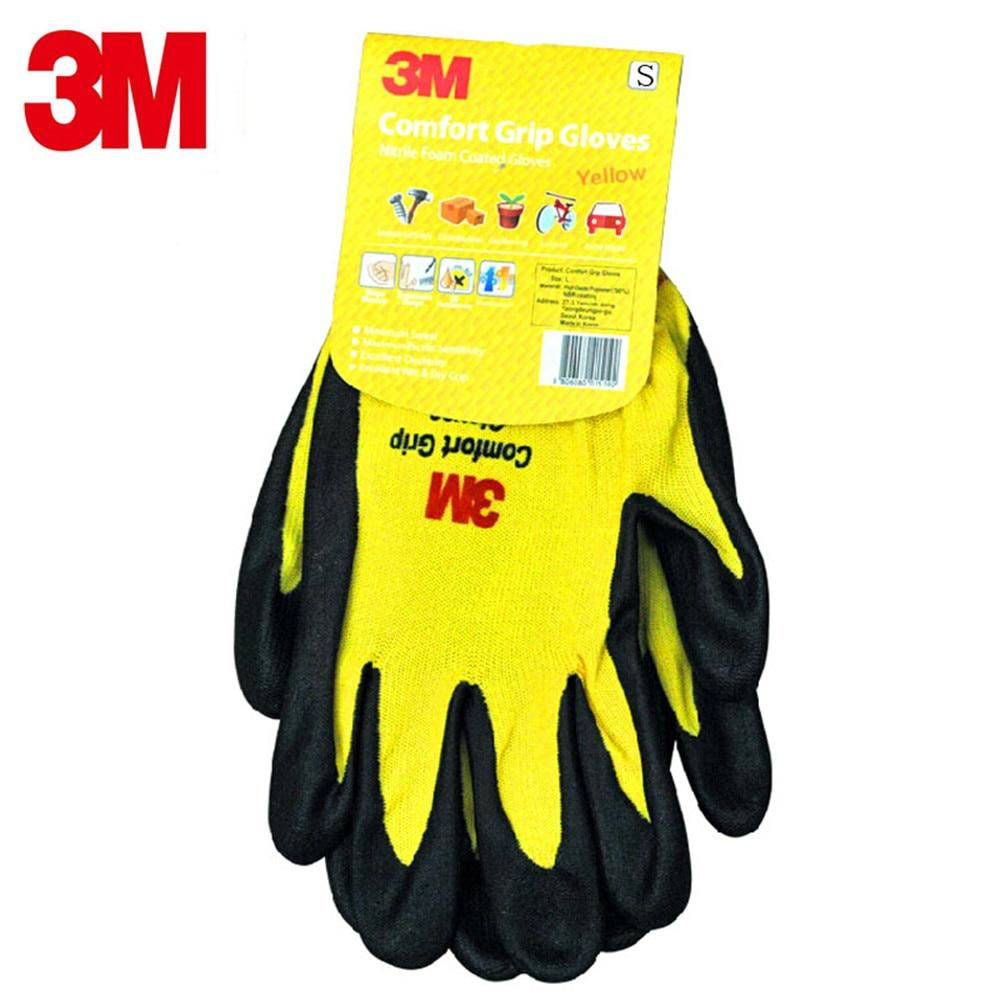 3M Comfort Non-slip Wear-resistant Gloves Protective Labor Gloves Protective Gloves Nitrile Palm Dip Gloves high quality cut proof labor gloves breathable protective gloves 1 pair wear resistant anti slip nitrile coating knitted gloves