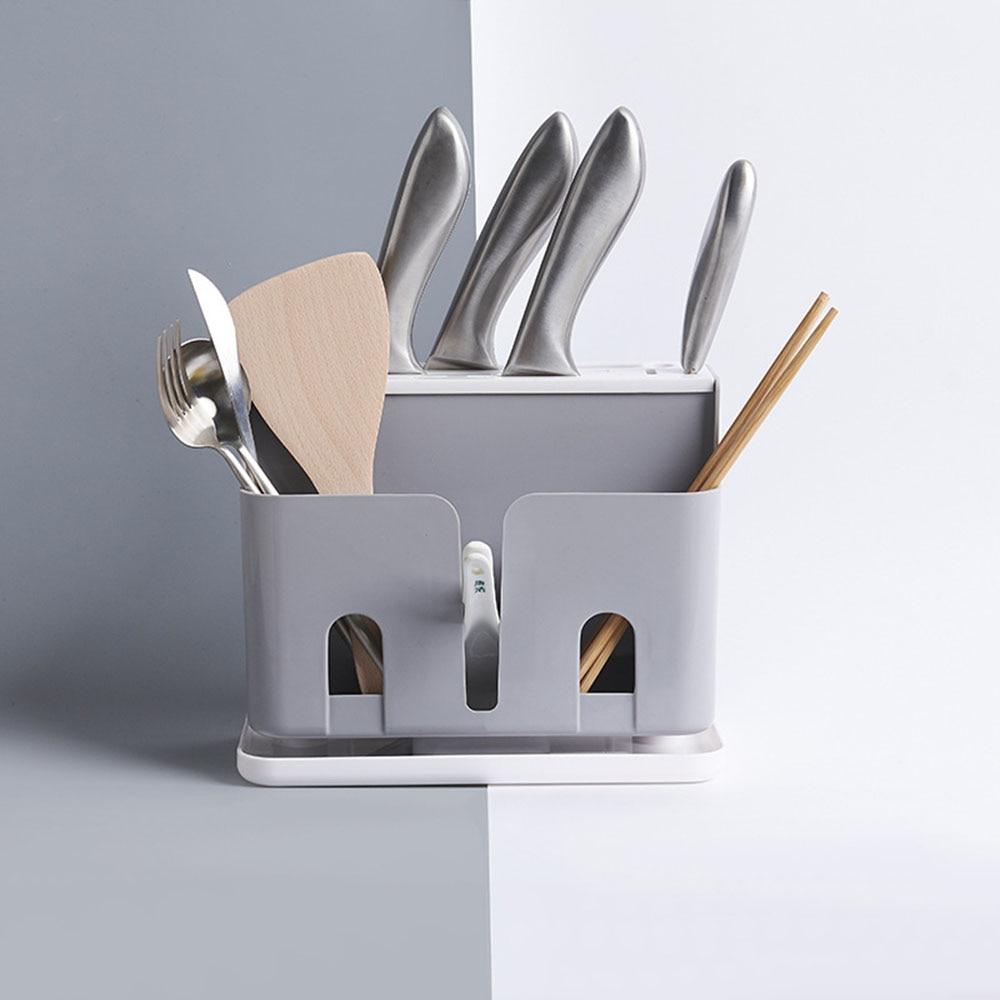 Nordic Simple Style Multifunctional Floor Knife Holder Kitchen Supplies Chopsticks Cage Rice Spoon Cutlery Storage Plastic Racks