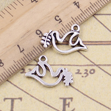 20pcs/lot Charms Peace Dove With Olive 20x13mm Tibetan Pendants Antique Jewelry Making DIY Handmade Craft For Necklace