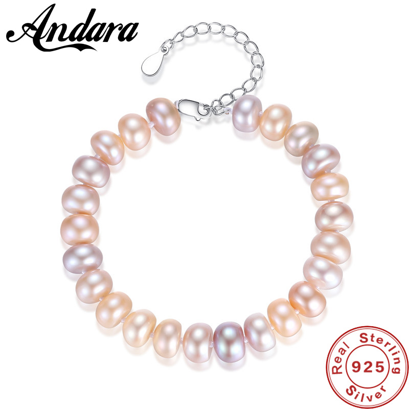 925 Sterling Silver Natural Charming Mixed Color Pearl Bracelets for Women High Quality Jewelry for Party