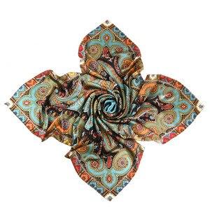 Image 2 - Thicken Paisley Prints 100% 실크 스카프, 여성용 럭셔리 스퀘어 실크 숄 풀라 우드 140x140cm