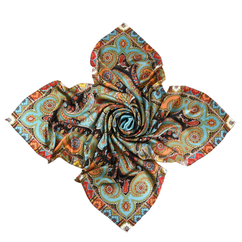 Image 2 - Thicken Paisley Prints 100% Silk Scarf Wraps Women's Luxury Large Square Silk Shawl Foulard 140x140cm-in Women's Scarves from Apparel Accessories