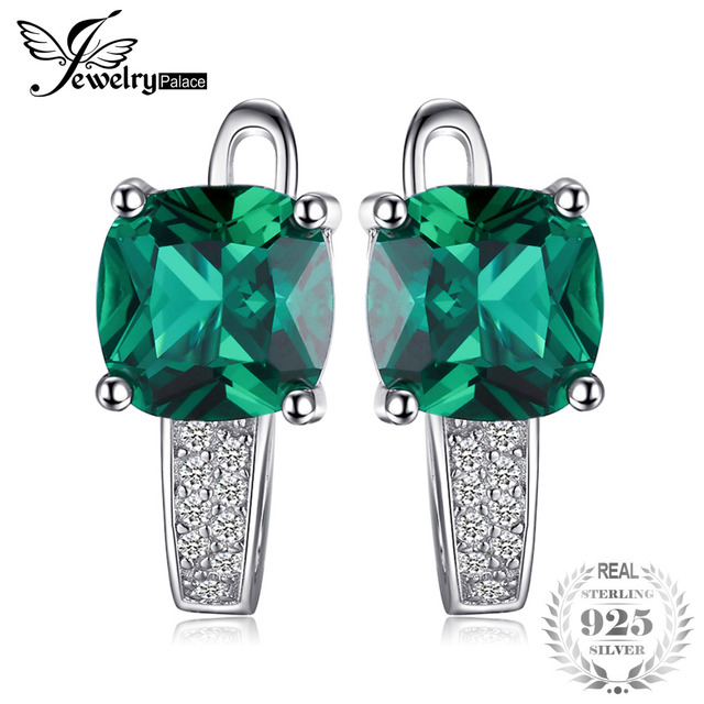 JewelryPalace Cushion 3.1ct Created Green Emerald Clip On Earrings 925 Sterling Silver Fine Jewelry for Women Accessories