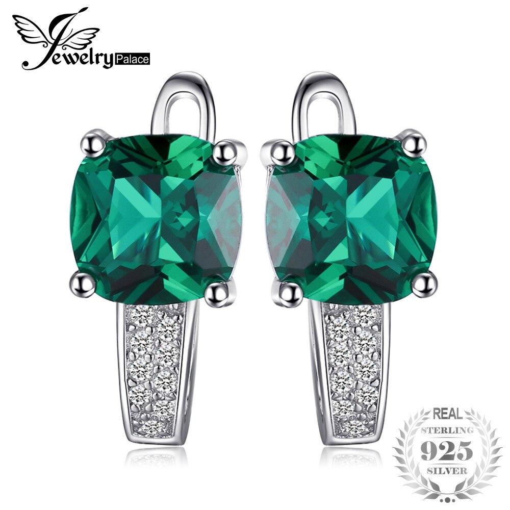 JewelryPalace Kissen 3.1ct Erstellt Green Smaragd Clip Auf Ohrringe 925 Sterling Silber Edlen Schmuck für Frauen Zubehör