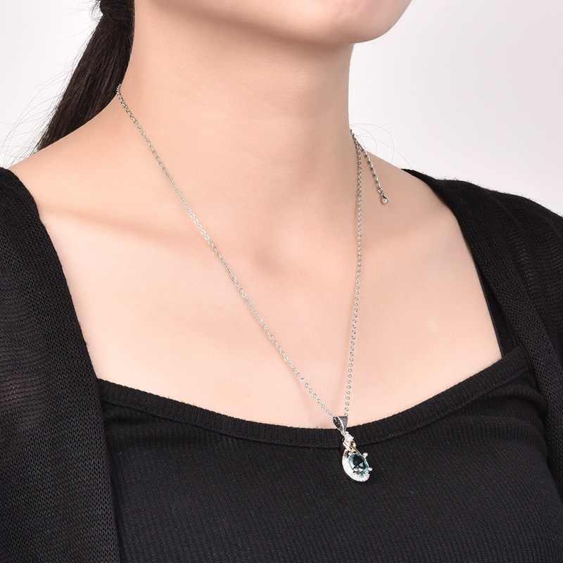 925 Sterling silber Schmuck Wasser Tropfen Halskette & Anhänger Blau Stein CZ Engagement Hochzeit Halskette für Party Zubehör CCN101