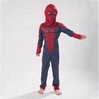 الأطفال العضلات سبايدرمان زي الملابس + قناع ، حفلة هدية ل 3-12 سنة كيد spider man زي العضلات الملابس