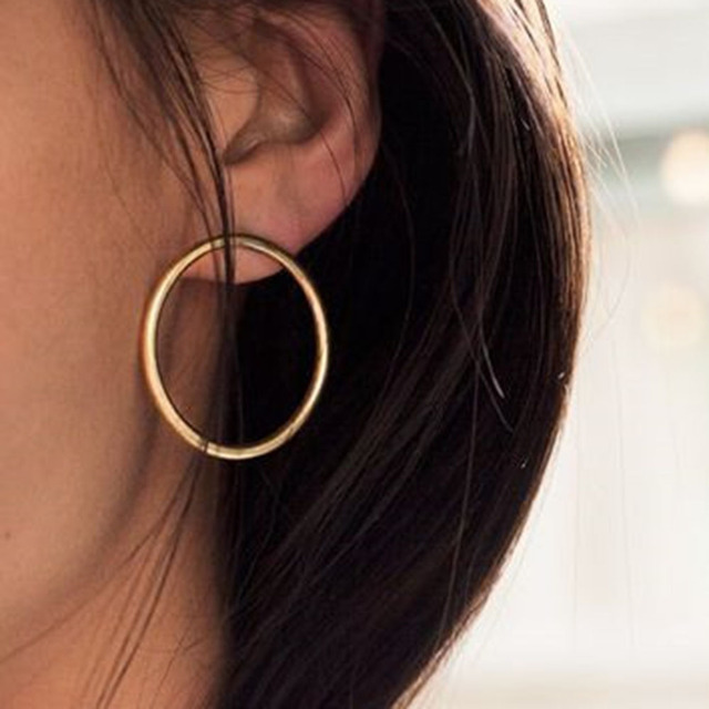 2018 Simple Korean Fashion Aros Big Round Circle Hoop Earrings for Women Geometr