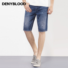 Denyblood Jeans 2017 Summer Mens Denim Shorts Distressed Jeans Ripped Capris Slim Straight Destroyed High Quality Bermuda 7207