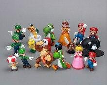 Super Mario Bros Family Mini PVC Figures Toys 18pcs/set Luigi Wario Waluigi Toad Bowser Yoshi Peach Daisy Toy For Child