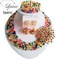 Nova Moda Preto das Mulheres Misturado Multicolor Crystal Bead Jóia Do Casamento Africano Nigeriano Bead Set ABD179