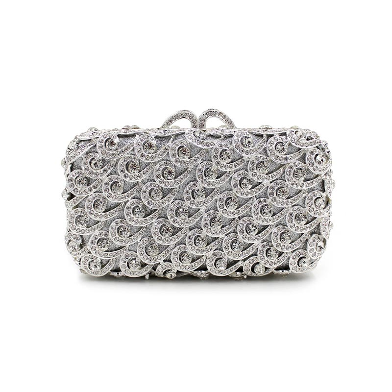 Fashion Sea Wave Shape Hollow Out Diamond Evening Clutch Bag Rhinstone party purse Over the Shoulder Female Crystal Handbag aidocrystal heart shape factory direct sell fashion woman diamond clutch for lady