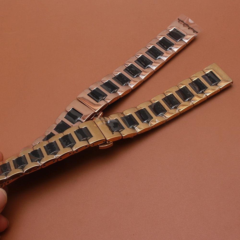 Saat kayışı Gül altın Paslanmaz Çelik Wrap Siyah Seramik - Saat Aksesuarları - Fotoğraf 5
