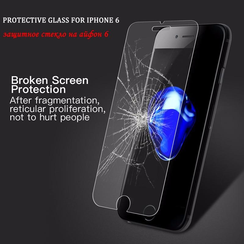 2018 téléphone protecteur d'écran en verre pour iphone 7 verre protecteur d'écran sur pour iphone 6 6s verre de protection pour iphone 5s verre