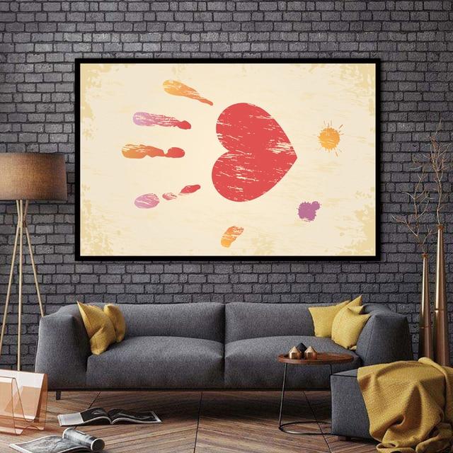 ZZ2356 modern abstract canvas wall art graffiti pink Handprint wall ...