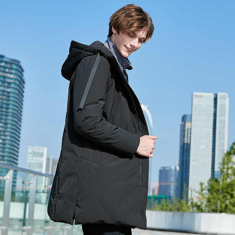 Пионерский лагерь, пуховик на утином пуху, Мужская брендовая одежда, однотонный длинный теплый зимний пуховик, мужское пальто, высокое качество, AYR801397