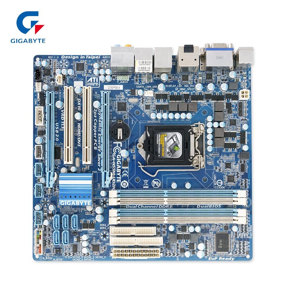 все цены на  Gigabyte GA-H55M-UD2H Original Used Desktop Motherboard H55M-UD2H H55 Socket LGA 1156 DDR3 Micro-ATX On Sale  онлайн